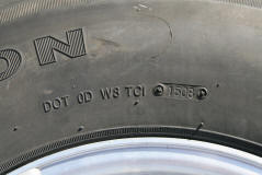 showing DOT number on tire