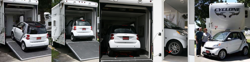 smart car in toy hualer garage